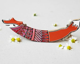 Orange fox necklace, woodland necklace,animal necklace,hand painted necklace