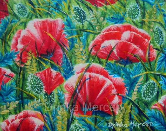 """Poppy Field Original Oil Painting Fine Art Canvas Giclee PRINT 8x10"""" Red Floral Botanical Red Bouquet Nature PRINTS Wall Art Home Decor"""