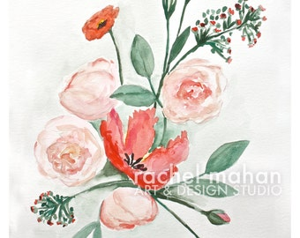 "Spring Floral #1 - coral, pale pink peonies - 8""x10"" Fine Art Watercolor Print"