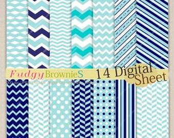 ON SALE Digital paper pack 7.5x11, blue digital background , No.70 printable background, blue, baby blue, dark blue , Instant download