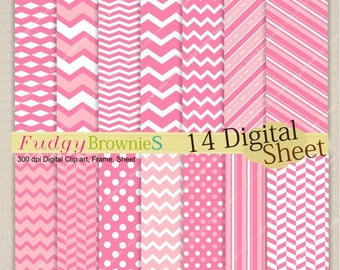 ON SALE Digital paper pack 7.5x11, pink digital background , No.73 printable background, pink ,  Instant download