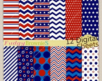 ON SALE Patriotic Digital paper 8x11, 4th of July digital background , No.222 printable background, red blue white