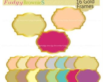 ON SALE Gold border frames clipart,color background frame, frame A-160, Gold Outline Bracket Frames, scrapbooking