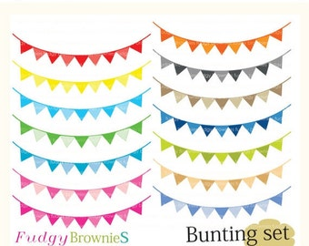 ON SALE , Digital bunting, 14 scrapbooking bunting.L-11 Flags banner , Instant Download
