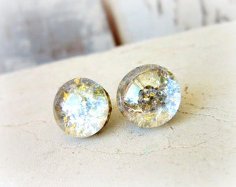 Gold & Silver Glitter Stud Earrings. Post Earrings. Glitter Button Earrings. Holiday Jewelry. Glitter Jewelry. Silver Stud Earrings