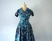 1950s blue floral dress . vintage 50s taffeta party dress