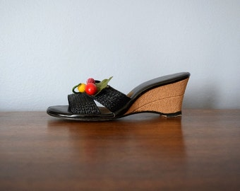 1950s cork wedge heels . vintage 50s fruit shoes