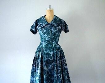 50% SALE . 1950s blue floral dress . vintage 50s taffeta party dress