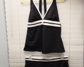 90s Black & White Swimsuit 2 piece Skirt Swimwear 10-12 M Bathing Suit