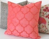 Chenille velvet coral quatrefoil geometric decorative pillow cover