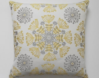 Yellow and gray floral medallion decorative pillow cover