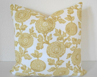 Golden Yellow Floral Decorative Pillow Cover