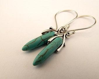Turquoise Gypsy Earrings Howlite Sterling Silver Dangle Earrings, Gemstone Earrings, Bohemian Jewelry