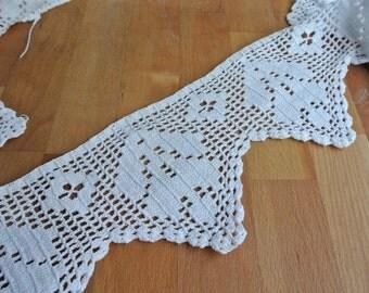 "White Cotton Hand Crochet Edging 56 1/2"" x 5""."
