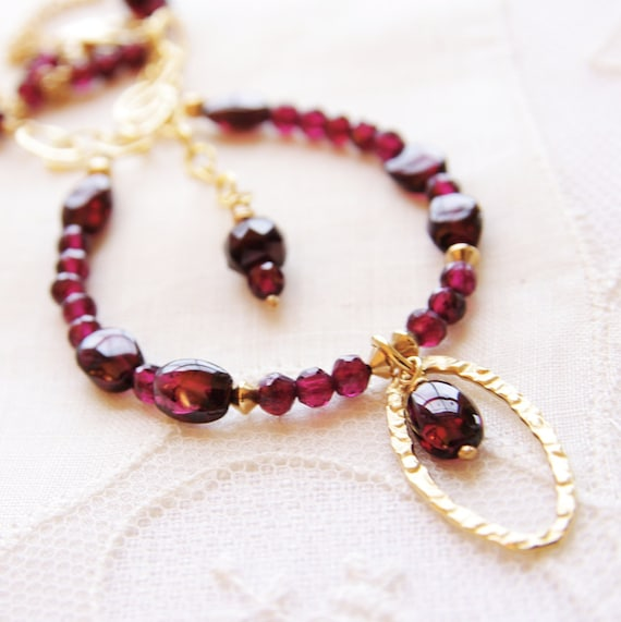 Garnet Necklace Red Gemstone Jewelry 14kt Gold Filled Natural Stone Beaded January Birthday Birthstone 18th Anniversary Artisan Handmade