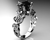Nature Inspired 14K White Gold 3.0 Ct Black and White Diamond Leaf and Vine Crown Solitaire Ring RD101-14KWGDBD