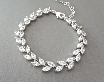 Cubic Zirconia bracelet, Brides bracelet, Wedding bracelet, Bridal bracelet, Leaf design, Marquise Cut bracelet,Tennis bracelet, Lux~ LILLY
