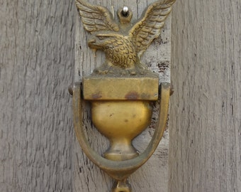 Brass eagle door knocker sailing yacht captains quarters door embellishment vintage patina nautical decor home decor