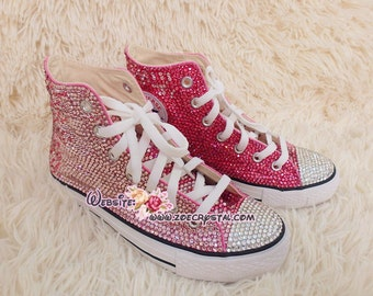 Bling CONVERSE Chuck Taylor All Star SNEAKERS with shinning and Stylish CRYSTALS - Fuschia and Pink