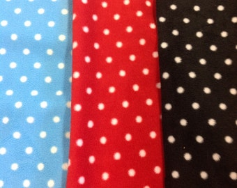 Super soft polka dot fleece fabric by the metre in red, black or blue