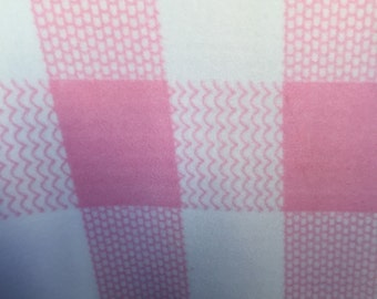Plaid Print Fleece Fabric Pink by the yard