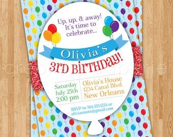 Rainbow Balloon Digital Birthday Invitation