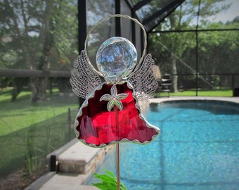 "Scarlet Red Art Glass Angel Garden Stake  -  Potted Plant Stake - Memorial Marker - Tibetan Silver ""Starfish"" Charm"