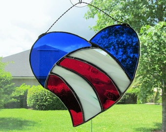Stained Glass  Patriotic Heart - Authentic  - Red, White, Blue - Large Size