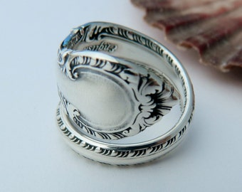 Sterling Spoon Ring, Silverware Jewelry, Antique Wrapped Style Ring Gorham English Gadroon 1939