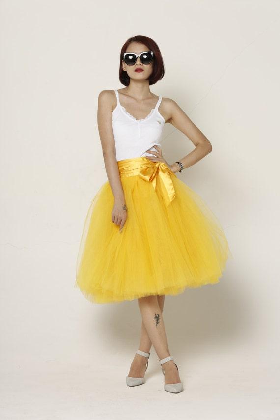 Items similar to tulle skirt tea length knee length tutu for Tea length wedding dress tulle skirt