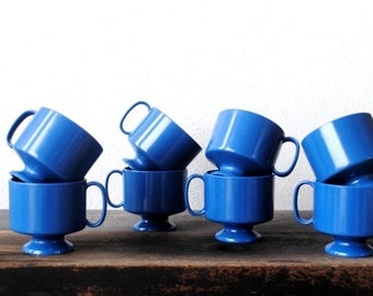 Vintage Blue Melamine Footed Cup Set, Eight (8) Stackable Cups