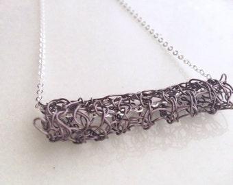 Bar Necklace Knit Crochet Wire Lace Gunmetal Gray Modern