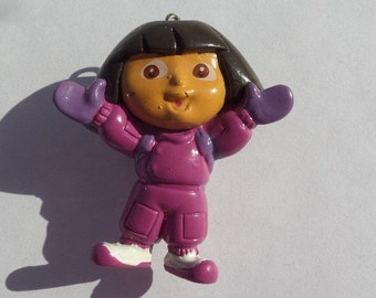 SALE! 50mm. Dora the Explorer Inspired Pendant, doll/figurine, resin chunky pendant for KID/girl/child jewelry necklace accessories