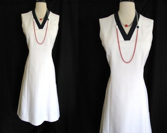 Vintage 1970s Summer Shift Dress Abe Schrader Nautical Day Dress  Size Small