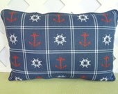 Anchors Pillow/ Nautical Pillow/ Navy Blue Pillow/  Navy Red White Pillow/ Accent Pillow/ Decorative Pillow/ Home Decor