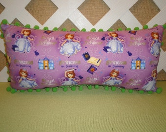 Sofia the First Pillow in Light Purple and Lime/ Sofia Pillow/ Little Girls Pillow/ Character Pillow/ Accent Pillow/ Travel Pillow