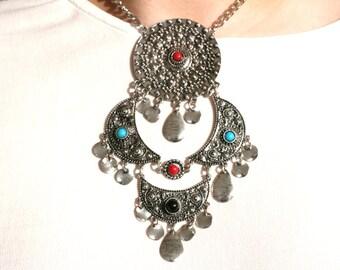 Medallion Stone Silver Metal Mandala Boho Tribal adjustable Necklace