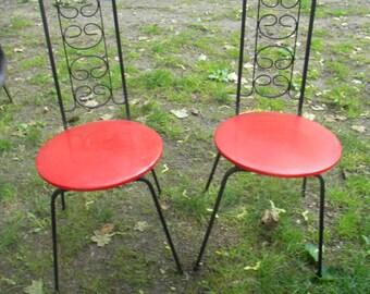 2 great shape vintage mid CENTURY ARTHUR UMANOFF iron dinette dining kitchen patio chairs
