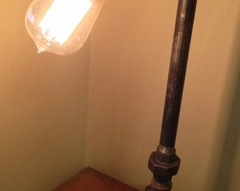 Industrial Iron Pipe Lamp and Faucet On/Off Switch- Table Lamp- Desk Lamp- Steampunk