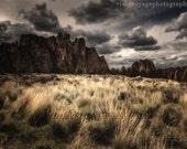 Rustic Photography, Dramatic Landscape, Dark Sky Photo, Rock Climbing, Desert Landscape, Rock Formation, Storm Clouds Photo, Brown Decor
