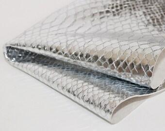 Snakeskin Print Leather ,Metallic Silver Genuine Leather