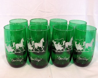 """Forest Green """"Open Sleigh"""" Tumblers by Anchor Hocking Set of 8"""