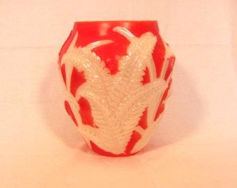 Phoenix Consolidated Glass Coral Wash Fern Vase Reuben Line Sculptured Art Ware
