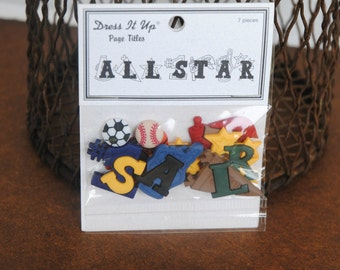 Dress It Up All Star Sports Themed Embellishments for Crafts Sewing