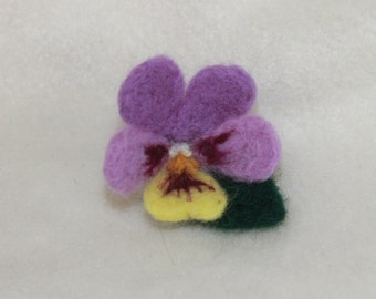 decorative pansy flower brooch pin accessories felted wool