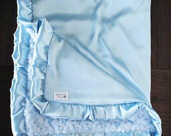 Minky Blanket, Soft Blanket, Baby blue blanket, ruffle blanket, gift for baby, silk blanket, minky and satin, baby blanket, baby girl,