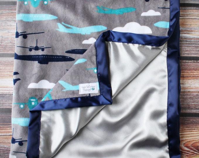 Minky Blanket, Baby Boy, Airplane Blanket, Aviator Blanket, Silk Blanket, Satin Blanket, Navy Blue and Grey, Blue and Silver, Soft Blanket