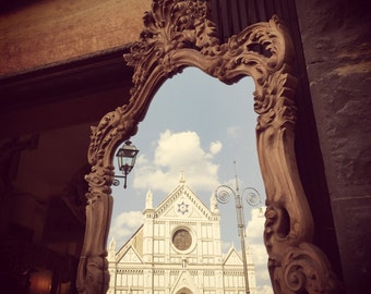 Travel Photography, Florence Picture, Santa Croce, Photo of an Antique Mirror with Wooden Frame, in which Cathedral is Reflected