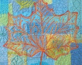 Leaf: embroidered textile art canvas