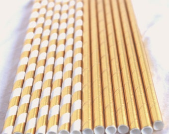 SUPER Metallic Gold Mix paper straws- Weddings---showers---Parties---25ct with Free Printable diy Flags
